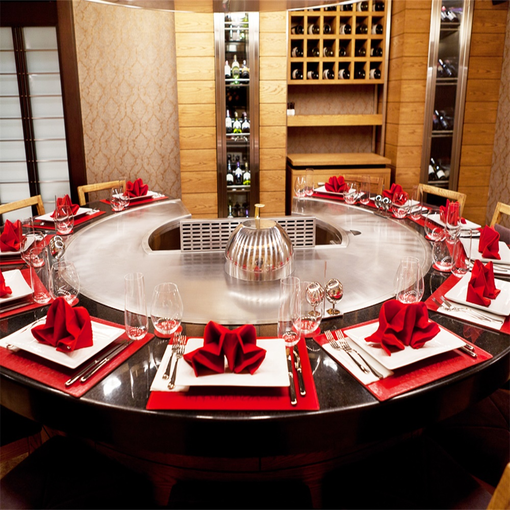 12 seats Circle Japanese Hibachi Table / Electric Teppanyaki Gri